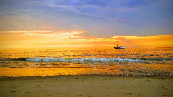 Stand, Boat, Fishing Boat, Sunset, Sea, Water, Ship