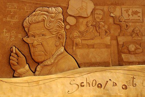 Sand Sculpture, Sand, Art, Oostende, Statue, Teacher