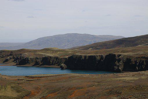 Iceland, Hike, Landscape, Water, Hill, Volcano