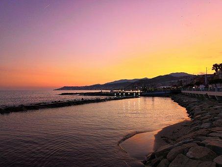 Sunset, Sea, Liguria, Water, Colors, Rocks, Calm