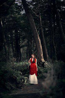 Woman, Girl, Woods, Creepy, In Tune With Nature, Forest