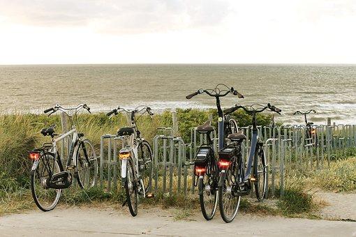 Bicycles, Sea, Dunes, Bike Racks, Parking Space