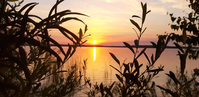 Sunset, Lake, Water, Nature, Reflection, Rest, Evening