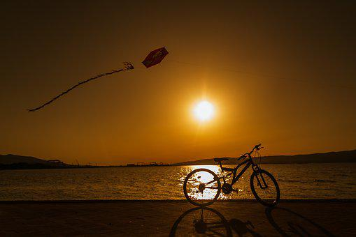 Sunset, Bicycle, Kite, People, Cyclist, Sky, Sunrise