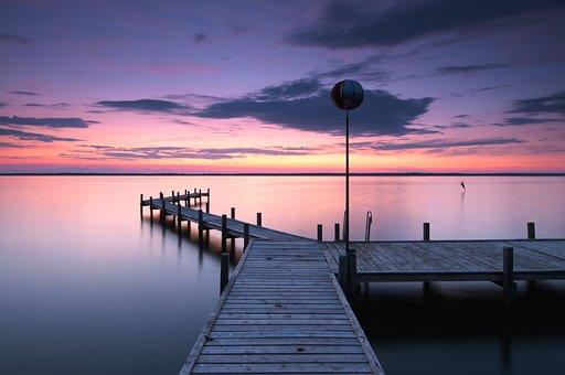 Twilight, Lake, Steinhuder Sea, Spring, Sky, Water