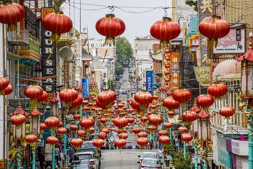 Chinatown, Lanterns, Chinese, Lantern, China, Red
