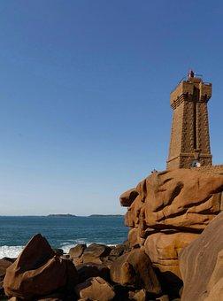 Lighthouse, Brittany, France, Side, Landscape, Granite