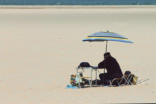 Beach, Loneliness, Alone, Parasol, Beach Life, Sit