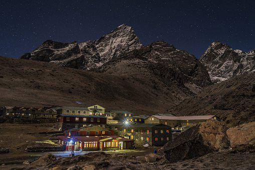 Mountain, Village, Himalayan, Nepal, Evening, Night