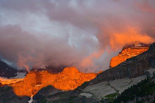 Lake Oeschinen, Sunset, Romantic, Mountains, Dramatic