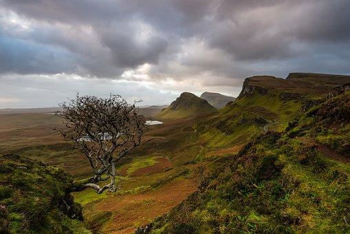 Scotland, Isle Of Skye, Quiraing, Nature, Sky, Bush