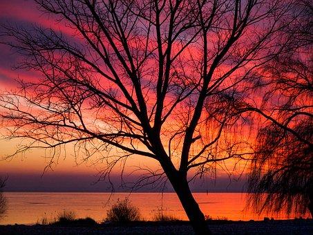Sunset, Romantic, Sky, Red, Orange, Landscape, Lake