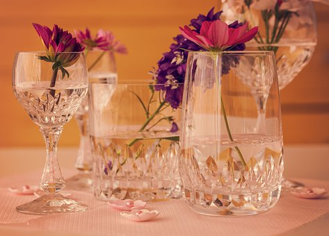 Flowers, Glasses, Deco, Table Decorations, Pink, Vase