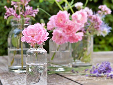 Glass, Vial, Bottles, Flowers, Rose, Lavender