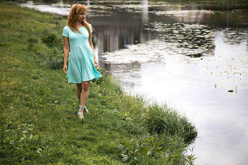 Pond, River, Water, Stroll, Nature, Dress, Lake