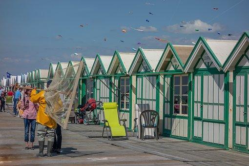 Fisherman, Cabin, Beach, Sea, Sky, Blue, Kite