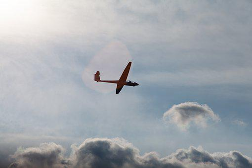 Glider, Sail Plane, Sailplane, Blue, Flying, Sport