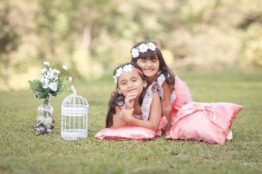 Girls, Portrait, Children, Joy, Childhood, Expression