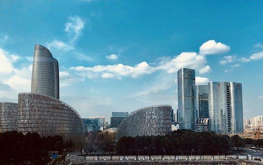 City, Tall Buildings, Building, Blue Sky, White Cloud