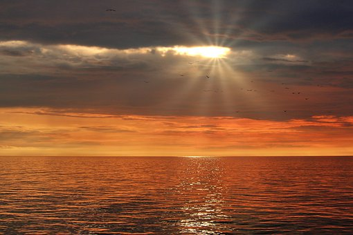 Sunset, Sea, Sky, Water, Ocean, Dusk, Clouds, Nature