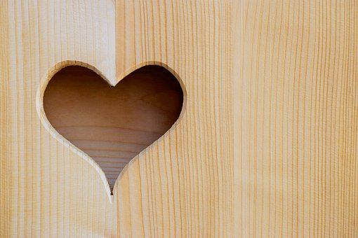 Wood, Heart, Cut Out, Love, Love Symbol, Background