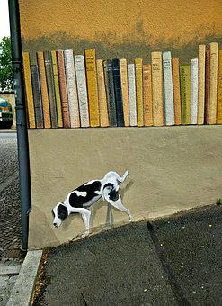 Graffiti, Jena, Street Art, Spray Painting, Dog, Books
