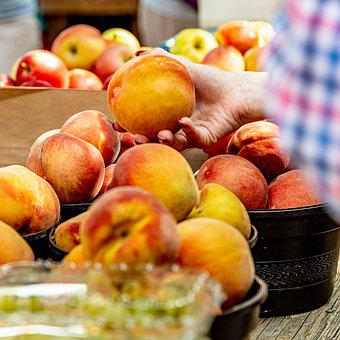 Peaches, Select, Purchase, Feel, Hand, Fruit, Market
