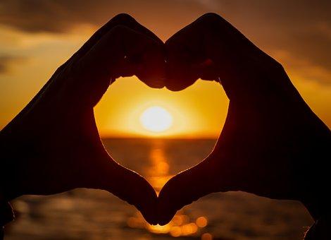 Heart, Hands, Romantic, Love, Sunset, Backlighting, Sun