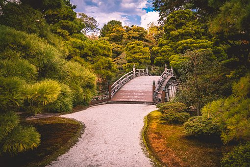 Bridge, Nature, Gardens, Kyoto, Landscape, Away, Forest