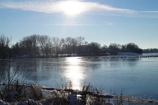 Lake, Sun, Sky, Water, Landscape, Nature, Trees