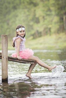 Lake, Spring, Water, Mountain, Cannon, Girl, Nature