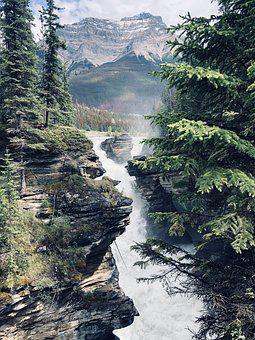 Athabasca Falls, Scenic Waterfalls, Landscape, Mountain