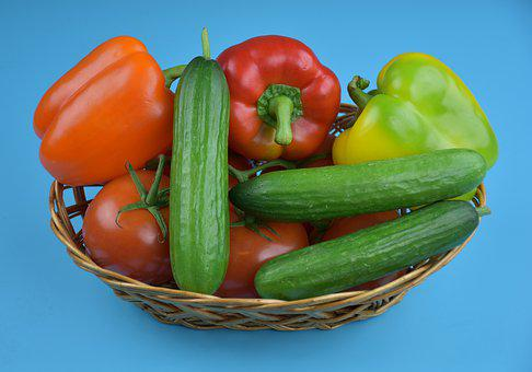 Vegetables, Peppers, Cucumbers, Tomatoes, Food, Healthy