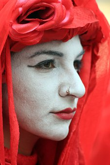 Face, Man, Red, White, Piercing