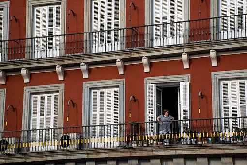 Red, Windows, Woman, Balcony, Architecture, Facade
