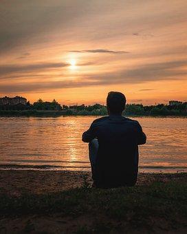 Man, Guy, River, Clouds, Sun, Sunset, Sundown, Alone