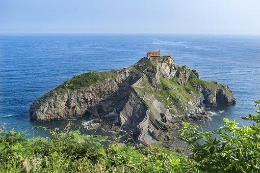 Sea, Sky, Architecture, Hermitage, Vegetation, Rocks