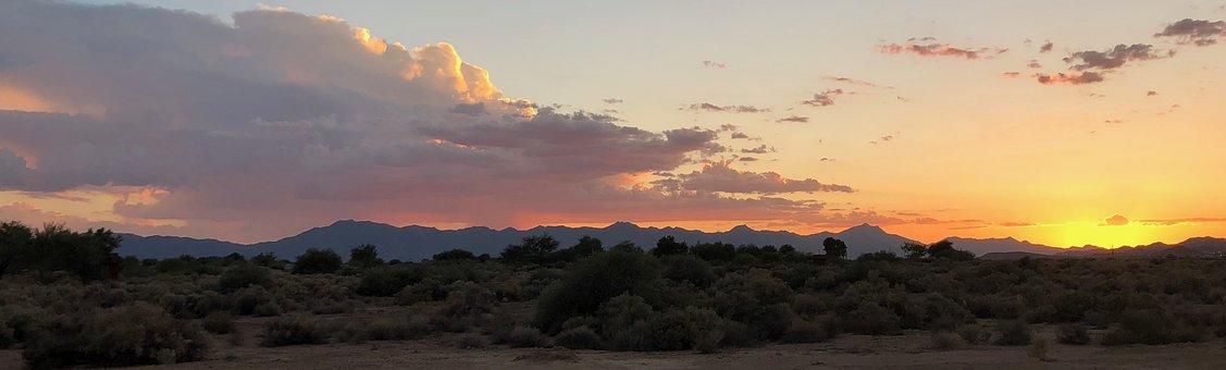 Arizona, Sunset, Sky, Scenic, Colorful, Desert