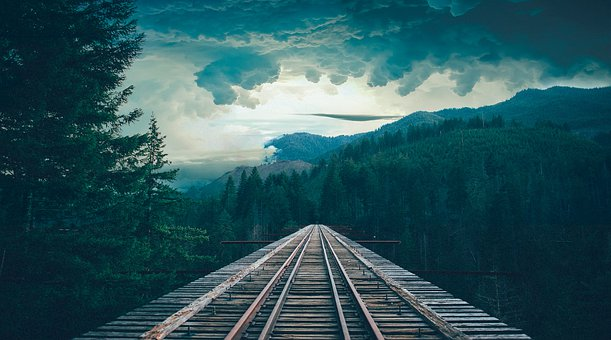 Bridge, Sky, Road, Clouds, Romantic, Forest, Grey
