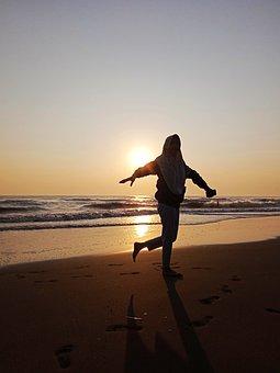 Sea, Wave, Sunset, Holiday, Happy, Sun, Nature, Sky