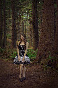 Scared Woman, Woods, Forest, Girl, Spooky, Anxiety