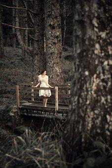 Woman On Bridge, Bridge, Fashion, Woman, Women, Dress
