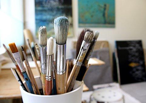 Brushes, Brush, Studio, Workspace, Paint, Paintings