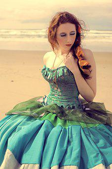Girl, Dress, Hoop Skirt, Corset, Blue Dress, Brown Hair