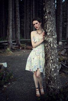 Scared Woman, Dark, Woods, Dark Forest, Dusk