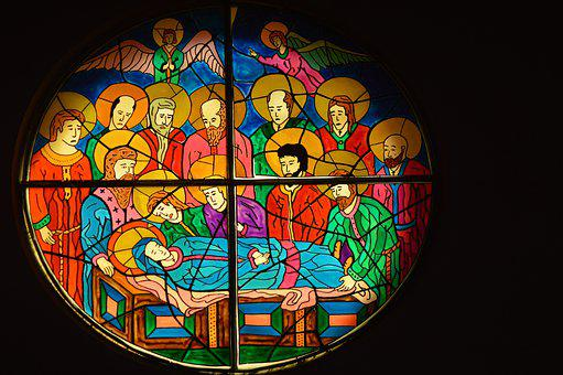 Stained Glass, Window, Church, Death, Assumption