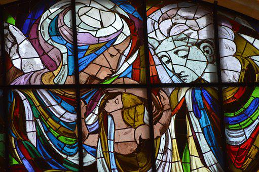 Stained Glass, Family, Mother, Child, Father, Window