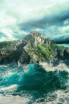 Landscape, Fantasy, Fantasy Landscape, Hermitage, Sea