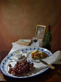 Table, Grapes, Cup, Bakery, Book, Tray, Fine Art