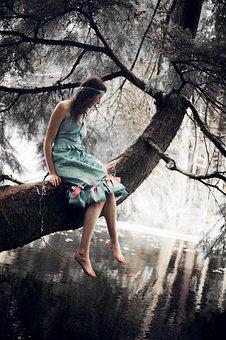 Girl, 1920s, Vintage, Woods, Forest, Pond, Tree